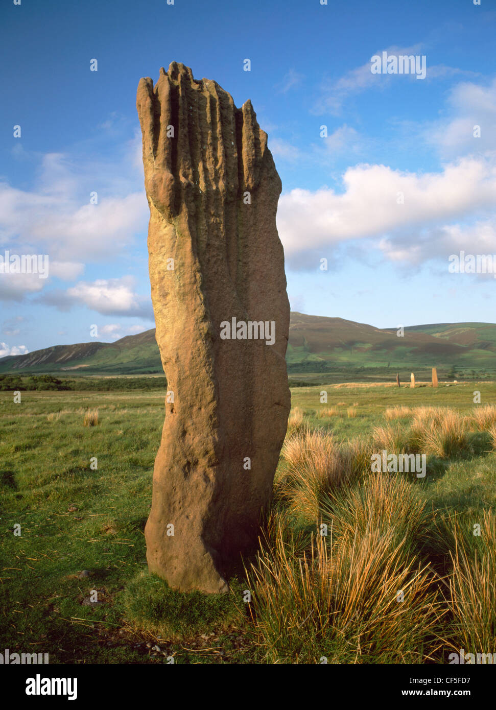 A tall sandstone pillar of Circle III of the Machrie Moor standing stones with the stones of Circle II visible to Stock Photo