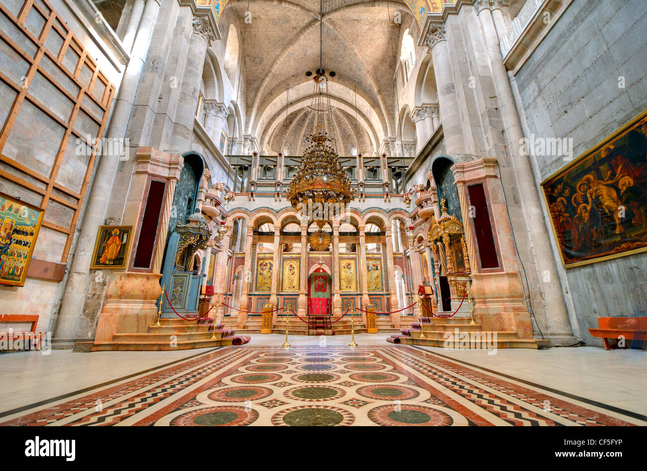 The Catholicon is the church at the center of the Church of the Holy Sepulchre in Jerusalem, Israel. - Stock Image