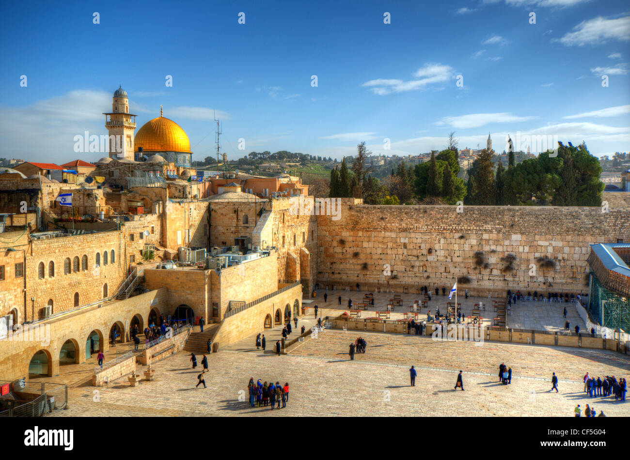 Old City of Jerusalem, Israel at the Western Wall and Temple Mount. - Stock Image