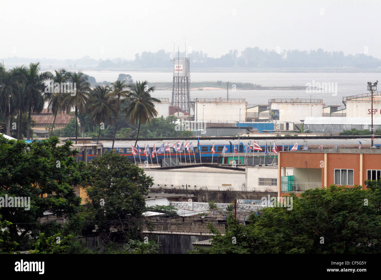 Looking across the city to the Congo River. La Ville, Kinshasa, DRC. - Stock Image