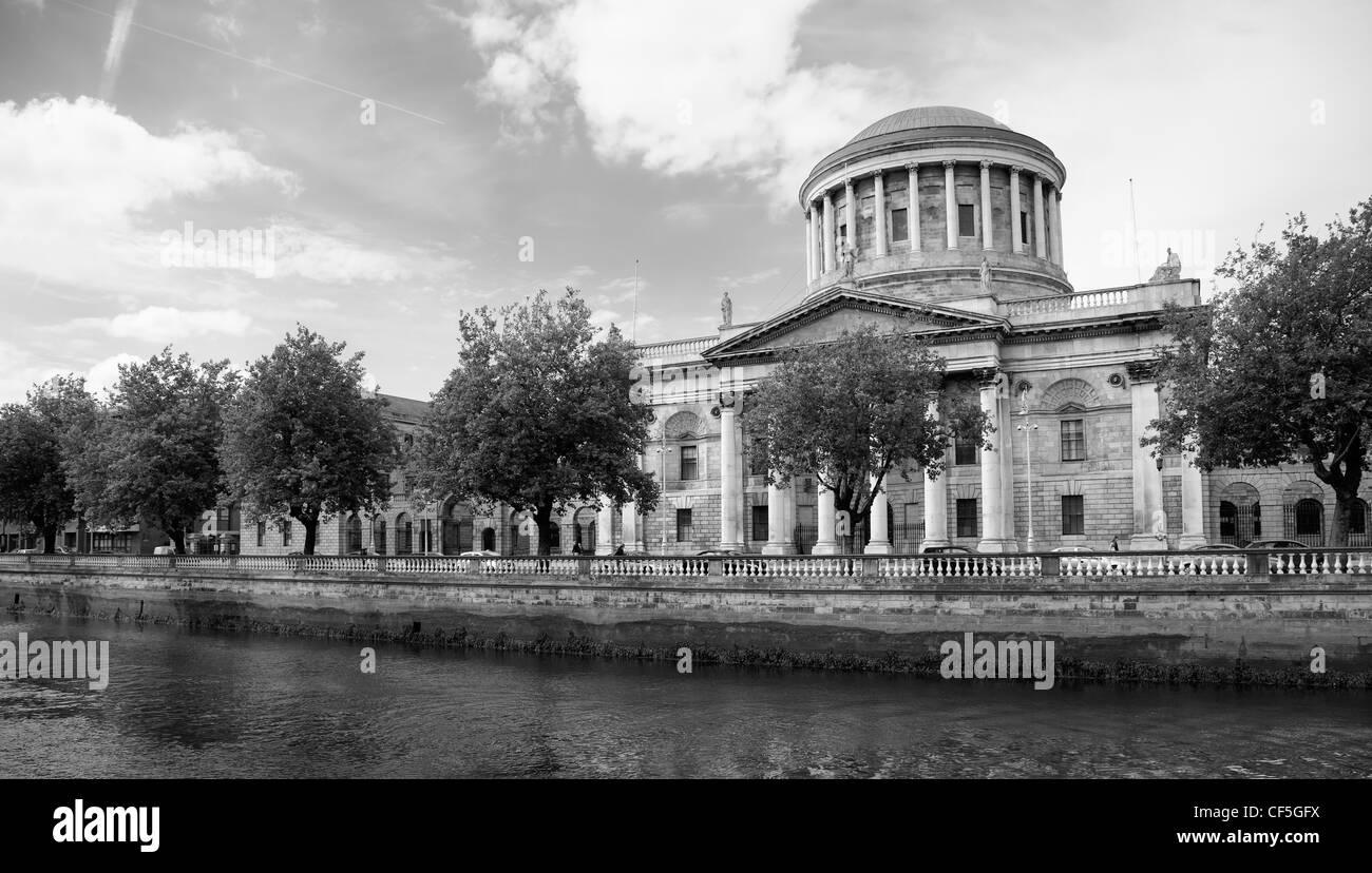 River Liffey and Four Courts building in Dublin - Irish capital city landmark, Ireland. - Stock Image