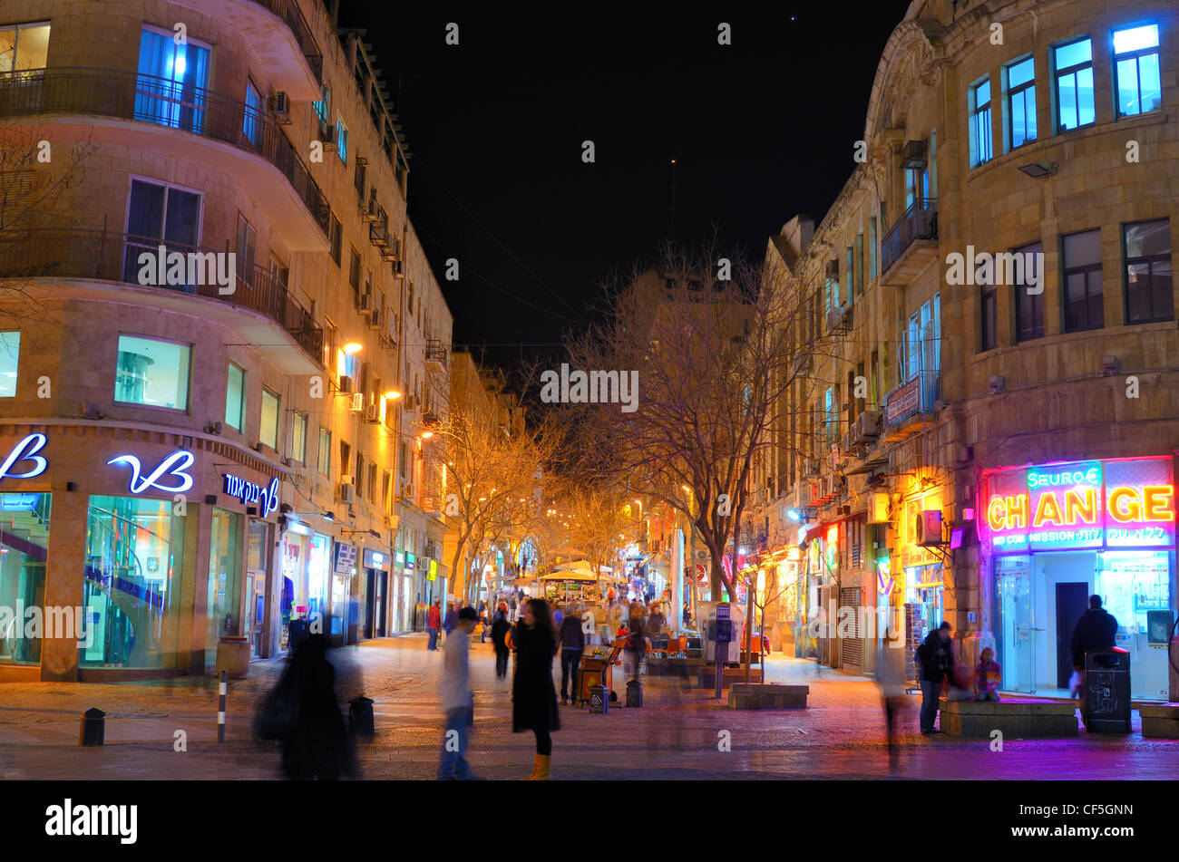 Ben Yehuda Street, the main nightlife and tourism destination in Jerusalem, Israel. - Stock Image