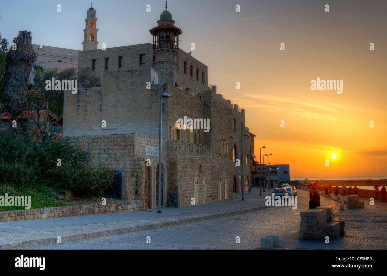 Old Jaffa in Tel Aviv, Israel at sunset. - Stock Image