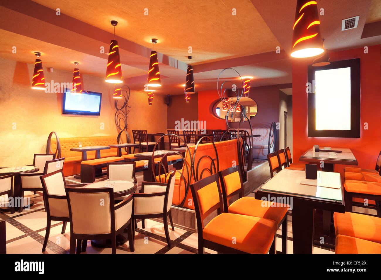 Interior Of A Restaurant Modern Design In Few Colors Orange And Stock Photo Alamy