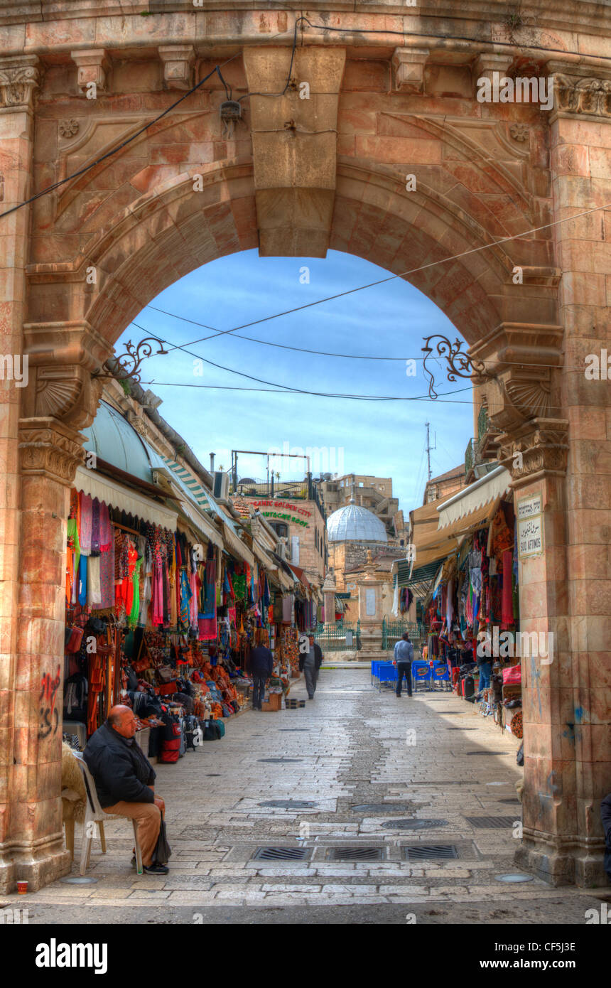 Suq Aftimos at the Muristan of the Christian Quarter in the Old City of Jerusalem. - Stock Image