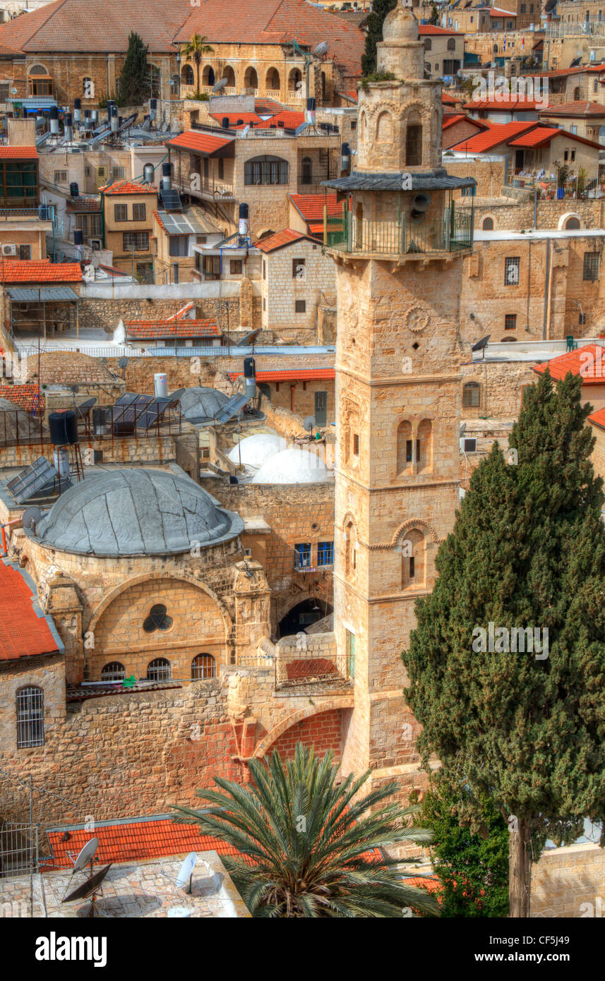 Aerial view the Old City of Jerusalem, Israel. Stock Photo
