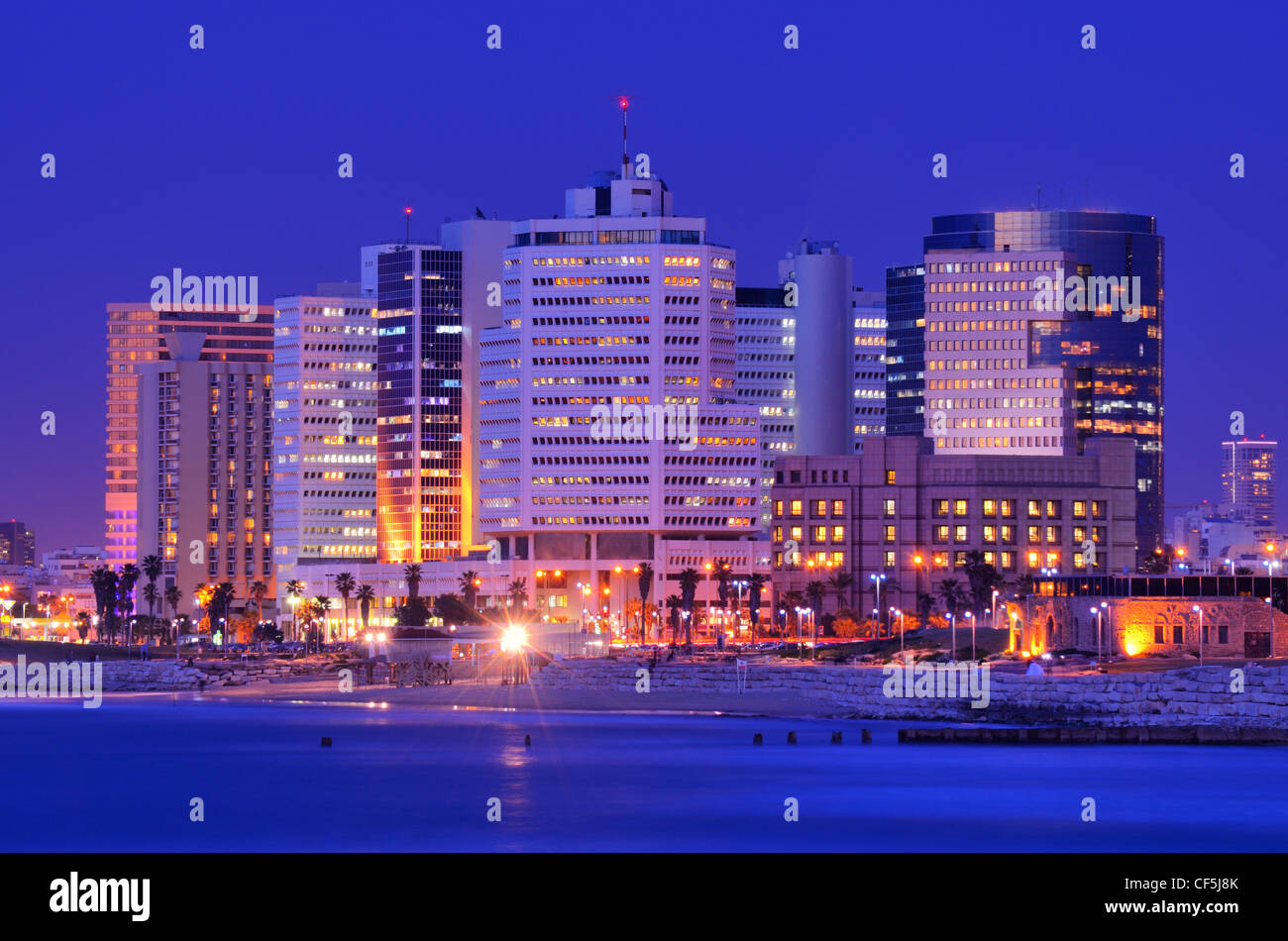 Skyline of Tel Aviv, Israel along the Mediterranean coast. - Stock Image