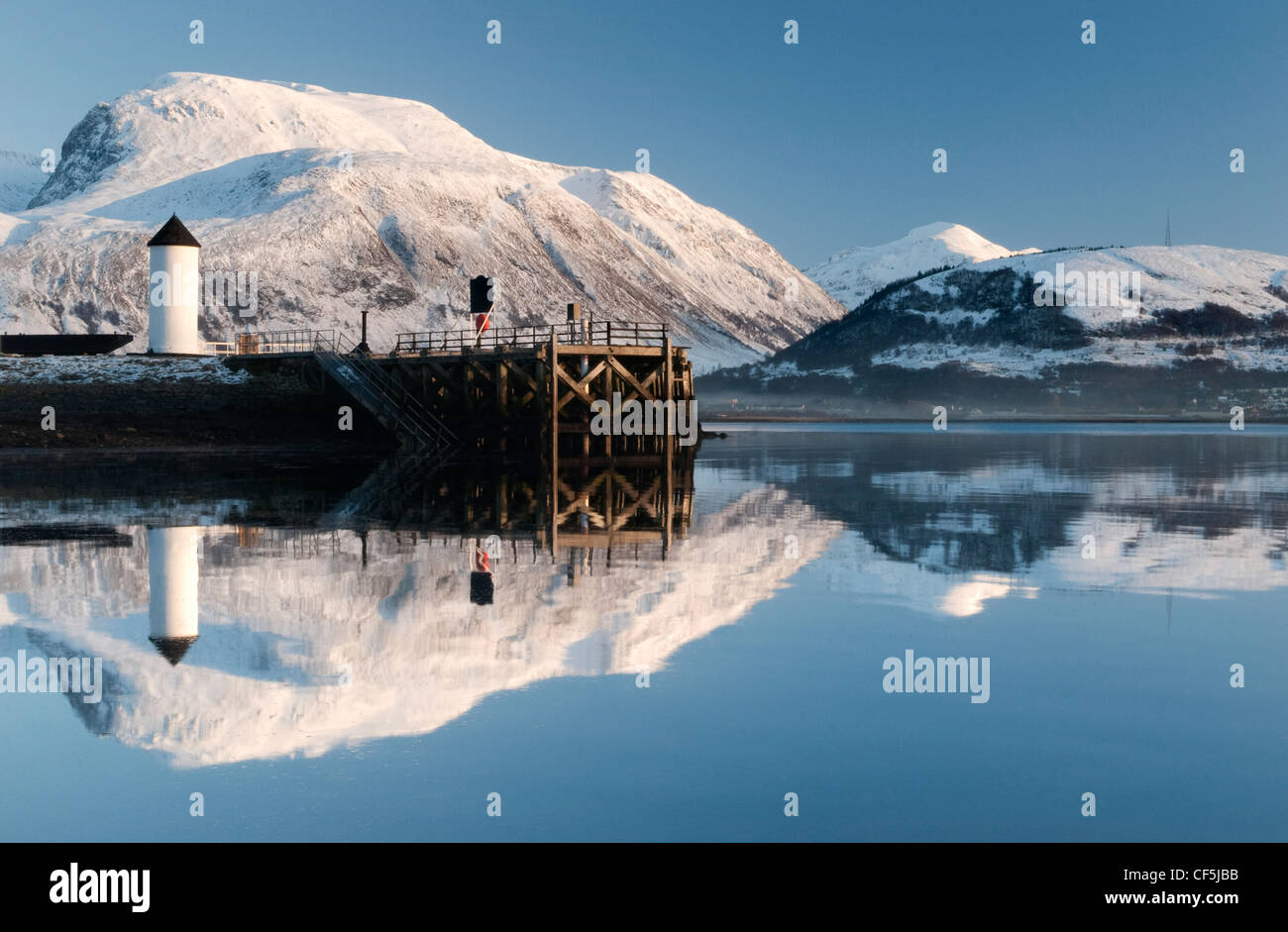 Corpach Lighthouse on Loch Eil with Ben Nevis and Fort William in the background. Stock Photo