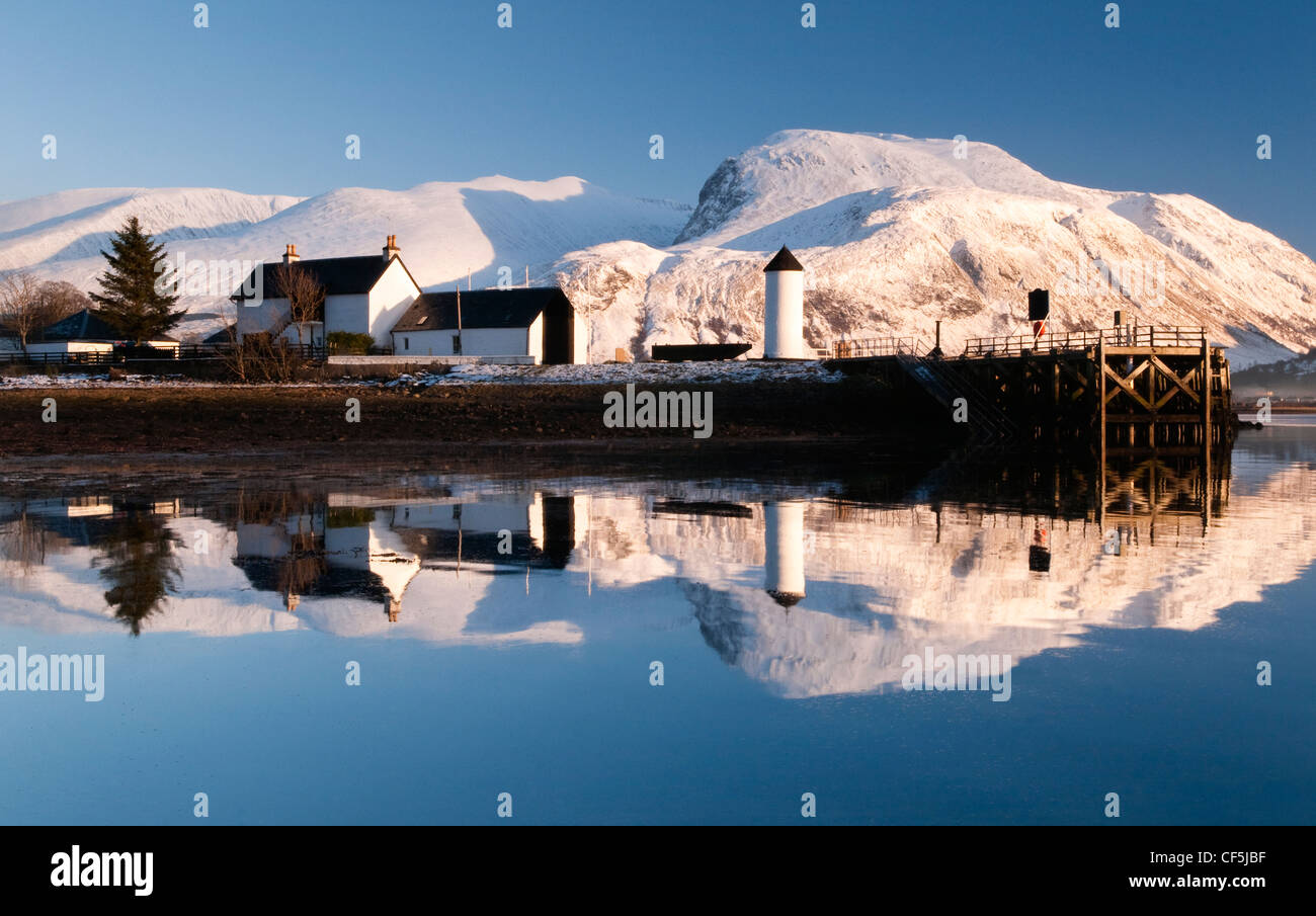 Corpach Lighthouse on Loch Eil with Ben Nevis and Fort William in the background. - Stock Image