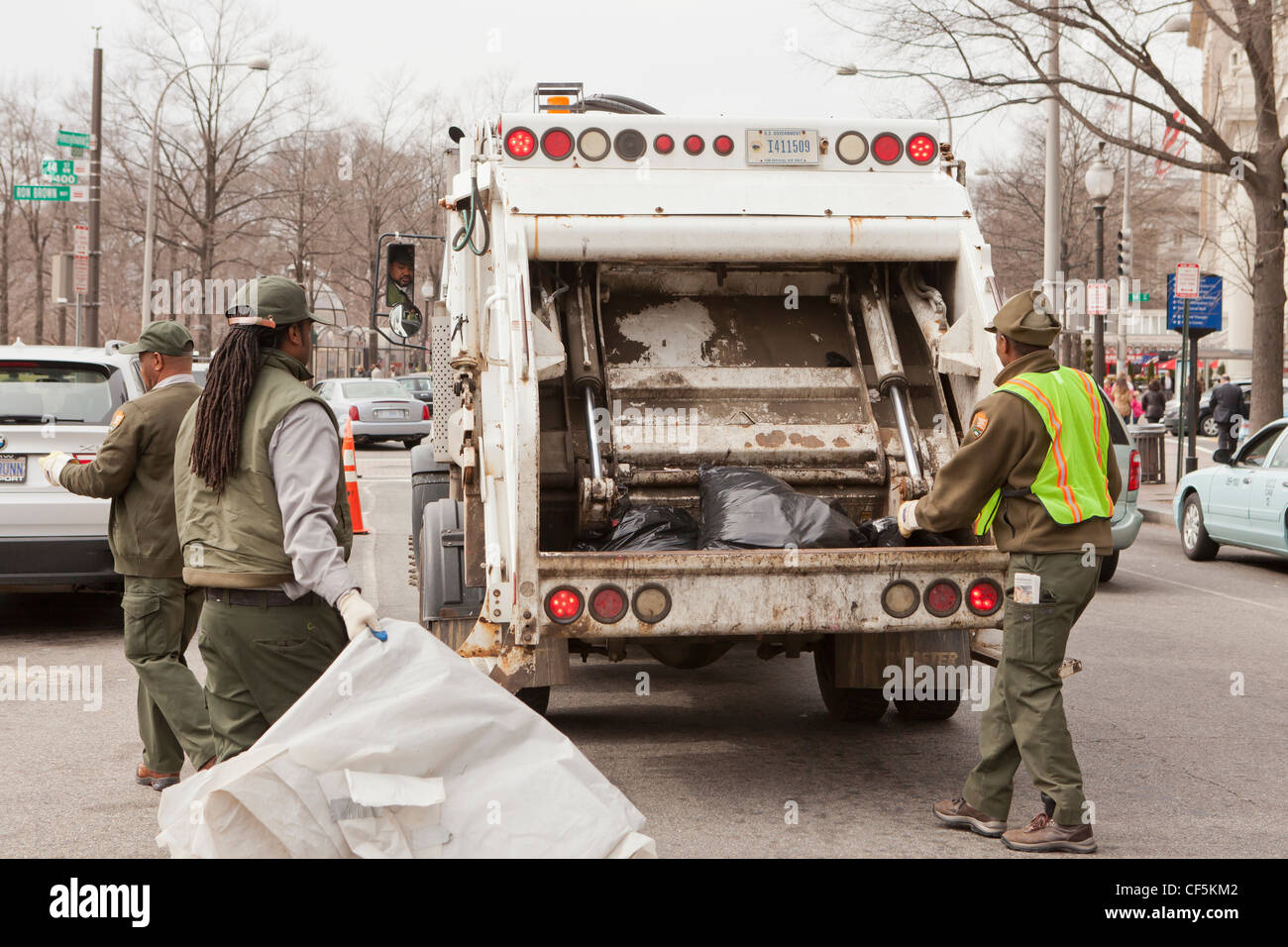 City refuse collection workers - Washington, DC USA - Stock Image