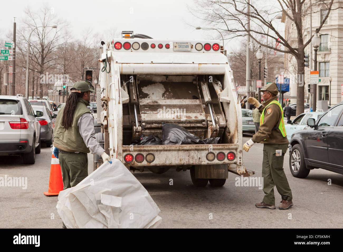City refuse collection workers - Stock Image