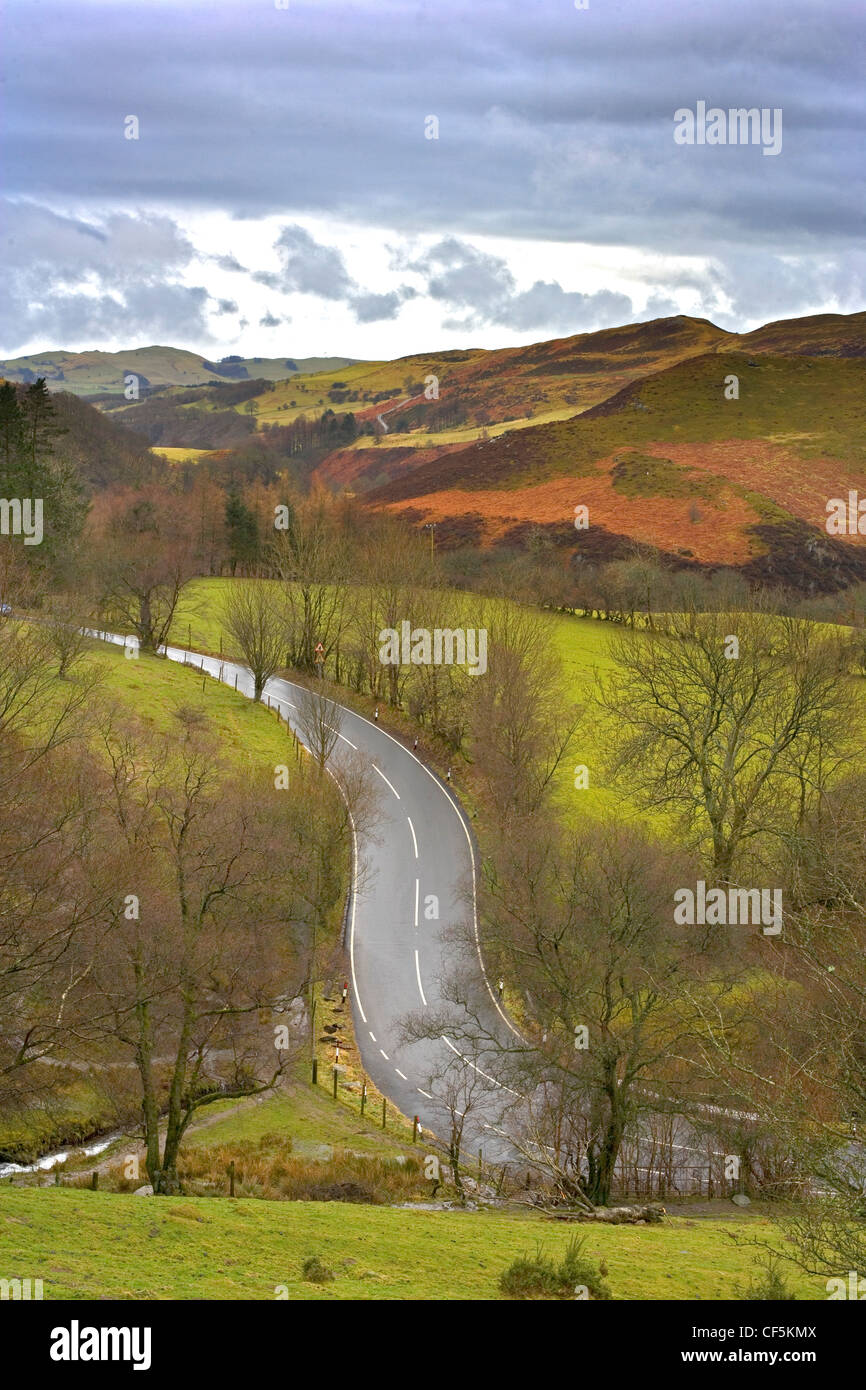 A view of the A4120 as it meets the B4343 North of Devil's Bridge. At this spot two rivers, the Rheidol and - Stock Image