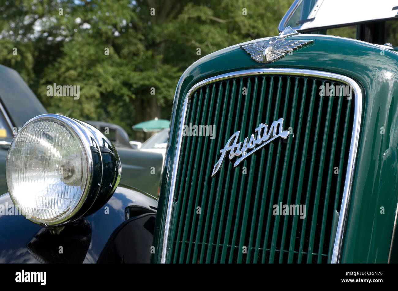 The front radiator grill and headlamp of a green Austin Seven vintage car. - Stock Image