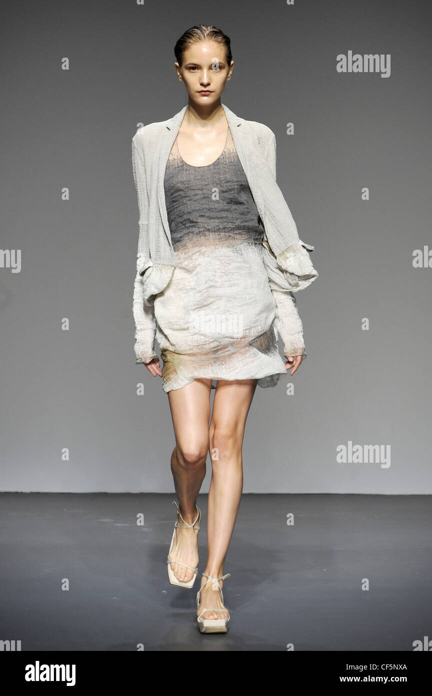 e082f9c1 Calvin Klein New York Ready to Wear Spring Summer Grey tie dye short dress  round neck, grey jacket and white platform sandals