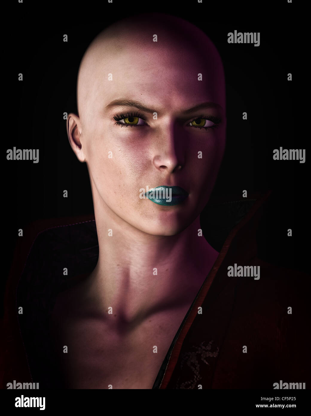 Digital illustration of a strong, futuristic sci-fi looking bald woman in heavy dark shadow. - Stock Image
