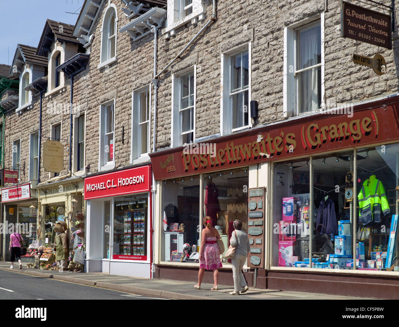 Edwardian shopfronts in the town centre. - Stock Image