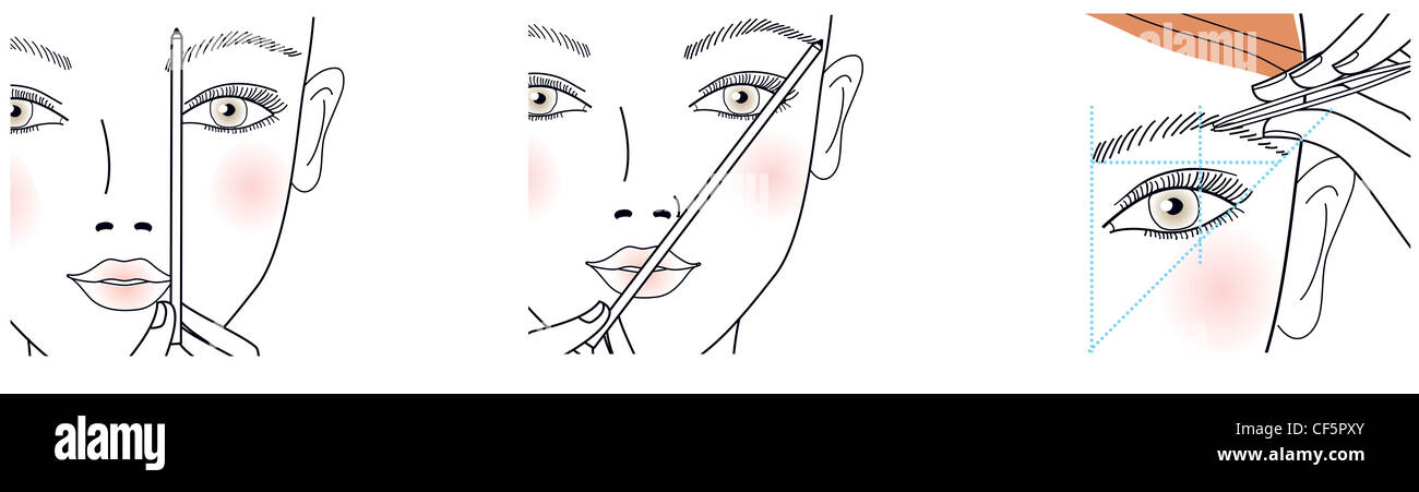 Step by Step How to shape your brows Shaping eyebrows, using a pencil to connect the corner of the lips and eyebrows - Stock Image