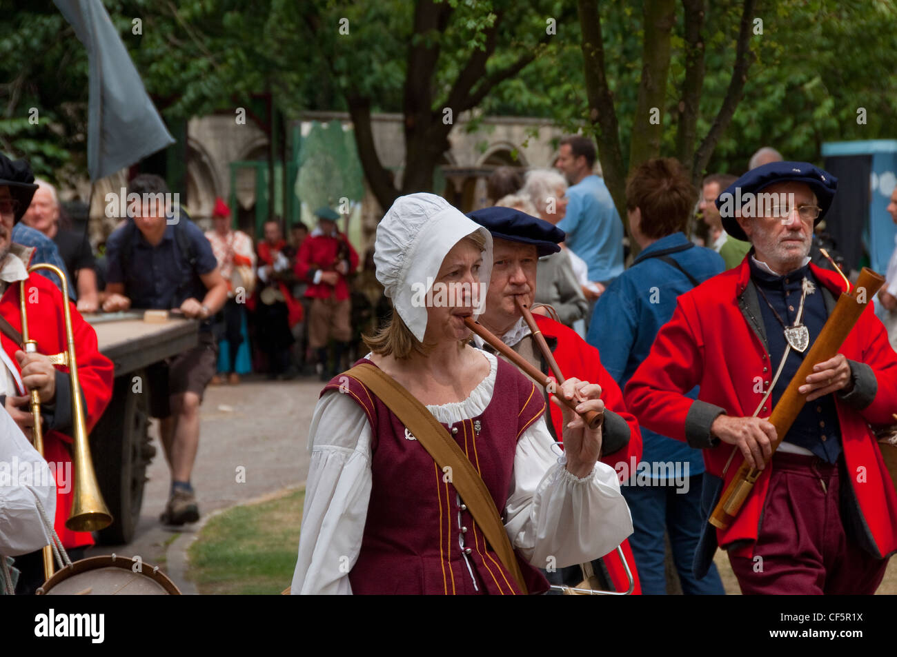 Performers at York Mystery Plays, a Middle English cycle of forty-eight mystery plays, or pageants, which cover - Stock Image