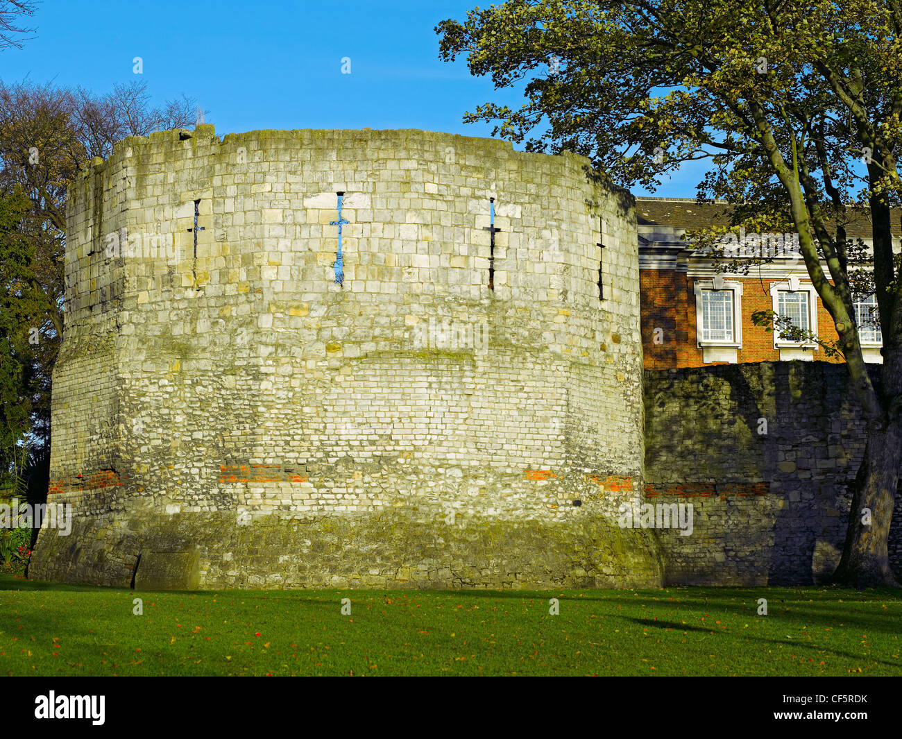 The Multangular Tower (York's only remaining Roman tower) in Museum Gardens. The tower was probably built in - Stock Image