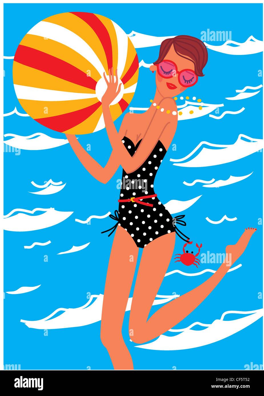 Wellbeing horoscopes Cancer Illustration of a female short brunette hair, wearing a black polka dot strapless swimsuit, - Stock Image