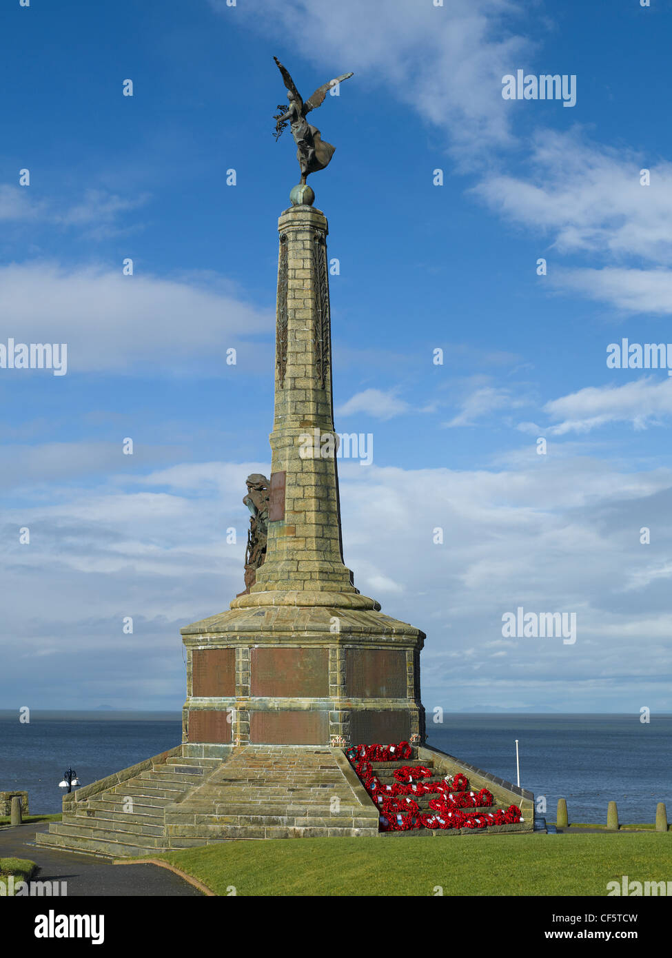War memorial in the grounds of Aberystwyth Castle ruins. - Stock Image