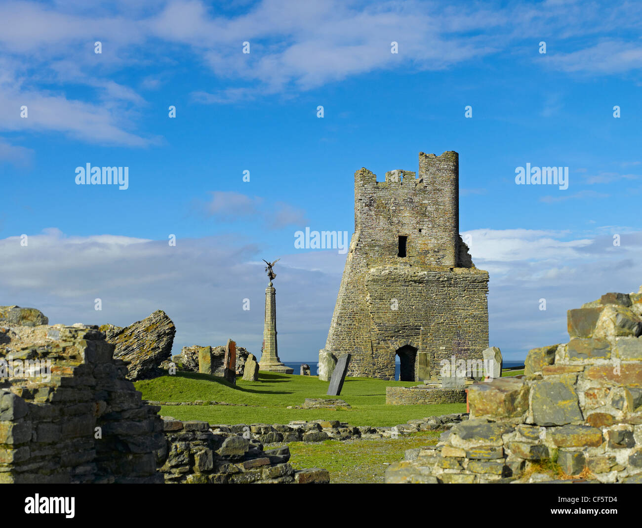 Ruins of the 13th century Aberystwyth Castle. - Stock Image