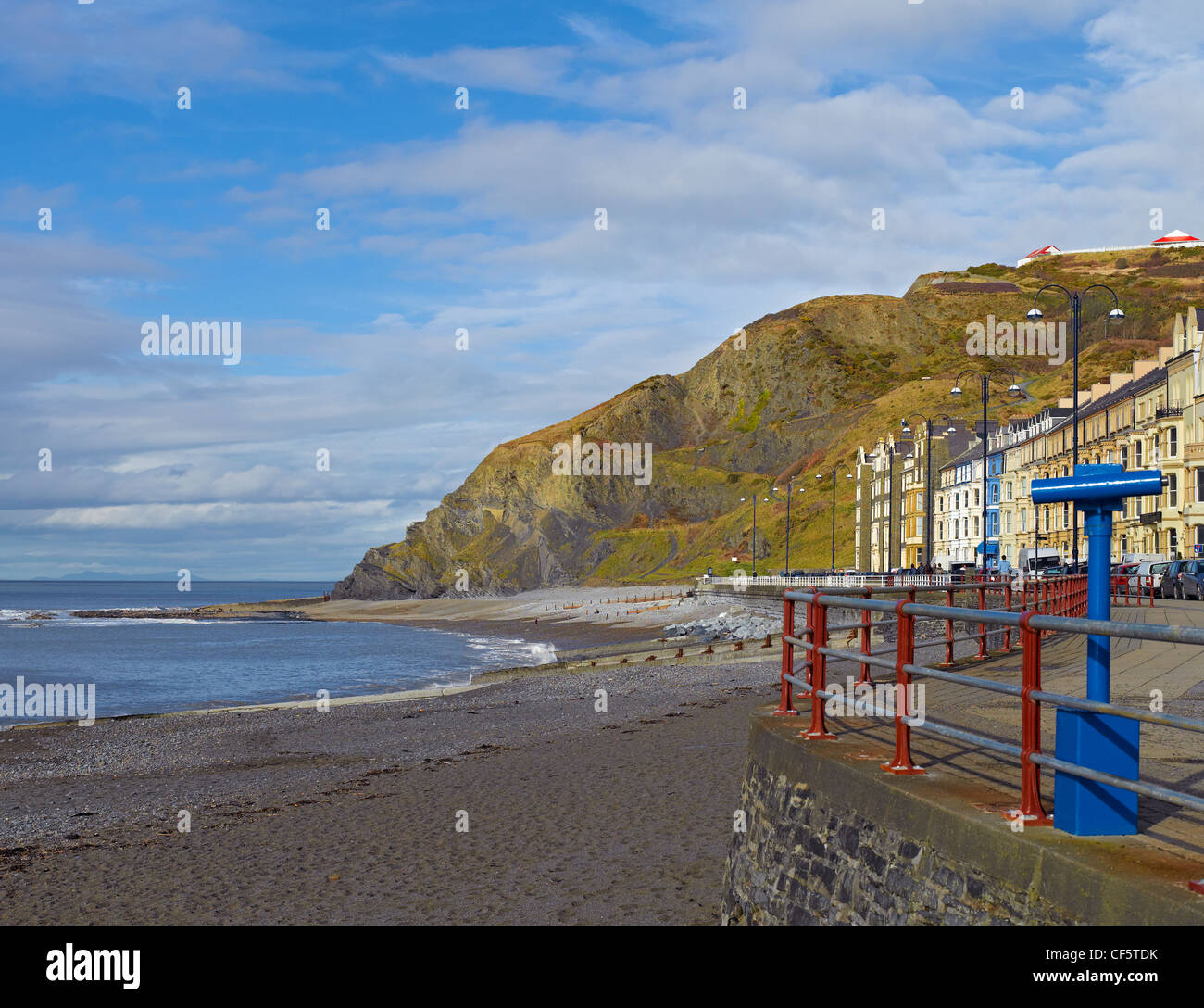 North Beach and Marine Terrace in Aberystwyth by the Irish Sea. - Stock Image