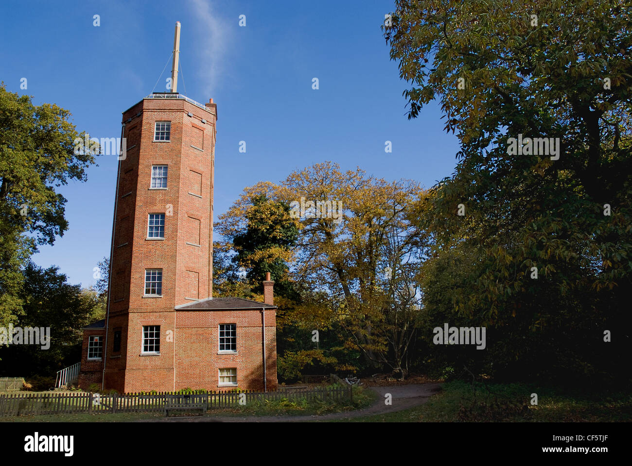 Semaphore Tower at the top of Chatley Heath near Cobham. The tower was originally built as a replacement for the Stock Photo