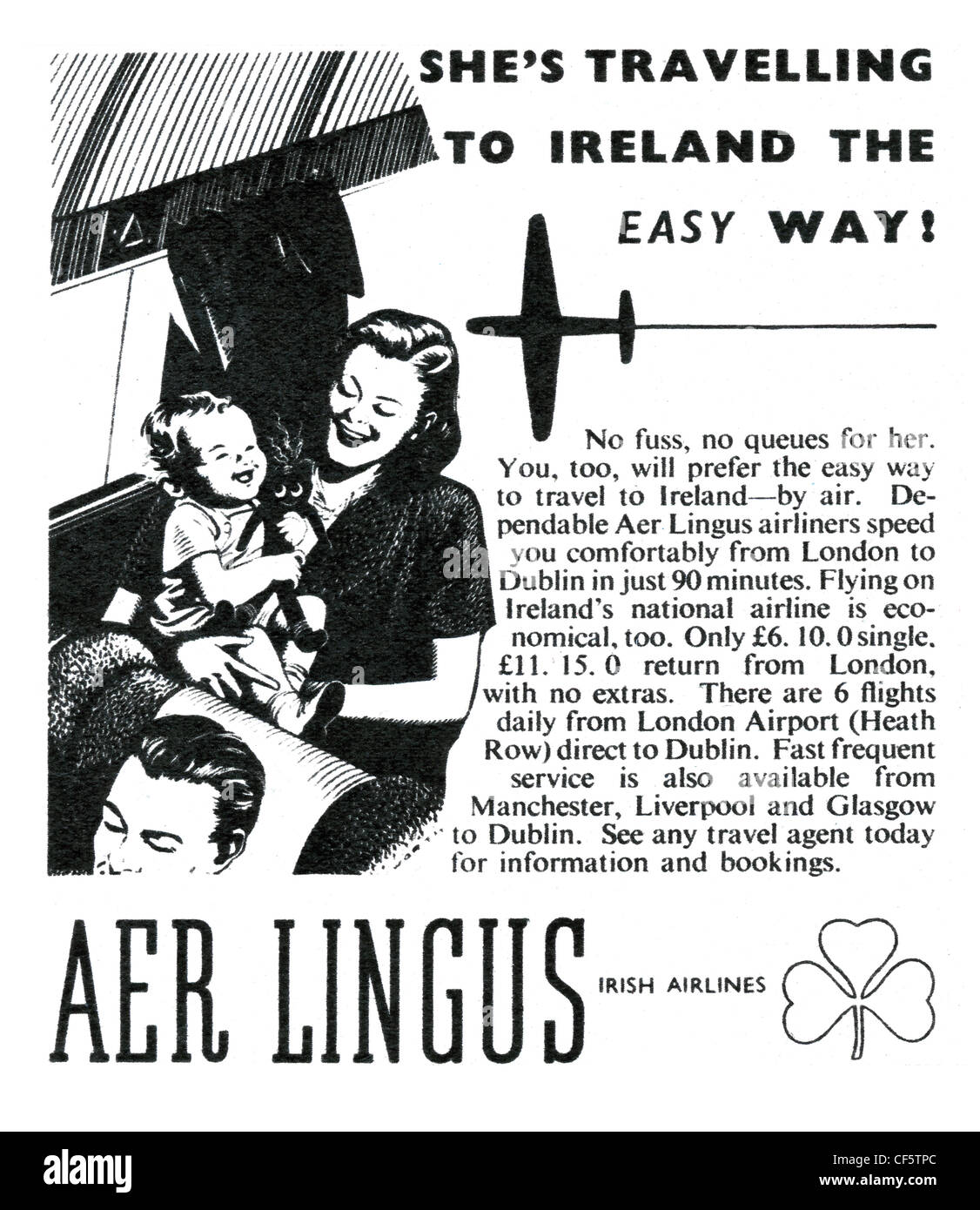 Aer Lingus airline advert in 1947, published in the UK - Stock Image