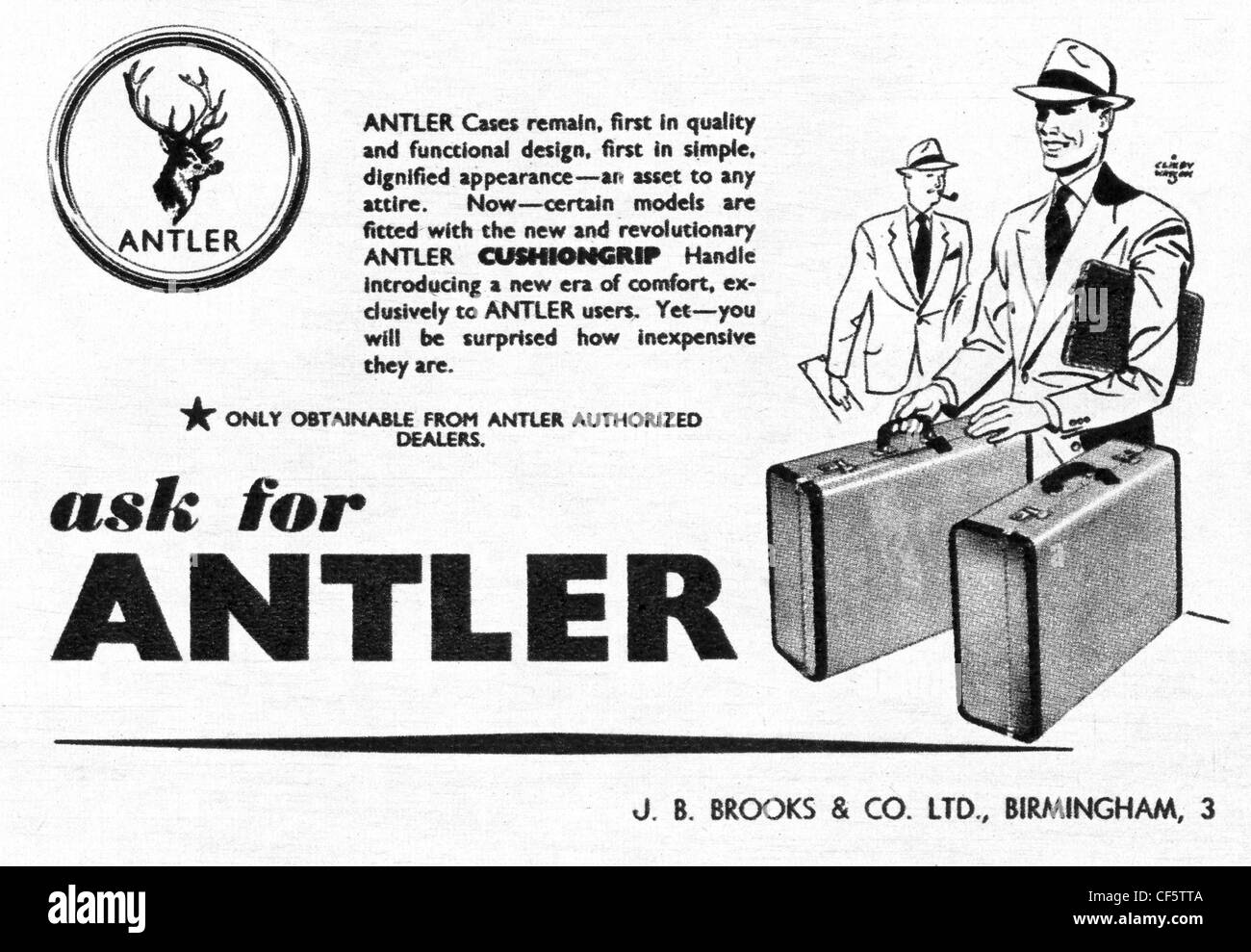 1953 advert for Antler suitcases, published in the UK - Stock Image
