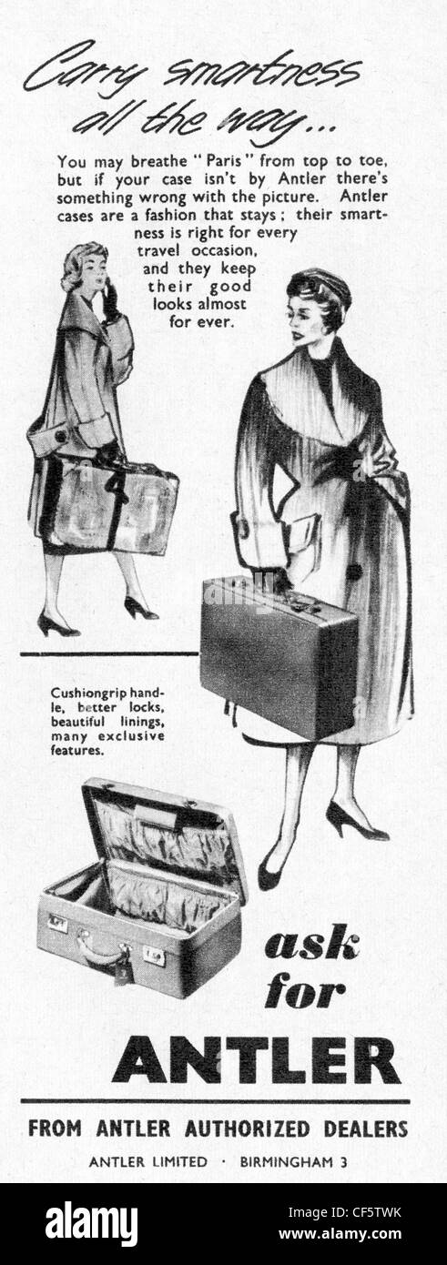 1957 advert for Antler suitcases, published in the UK - Stock Image