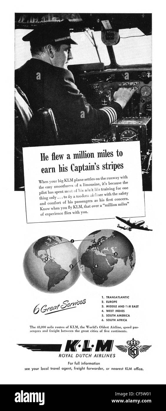 KLM airline advert in 1947, published in the UK - Stock Image