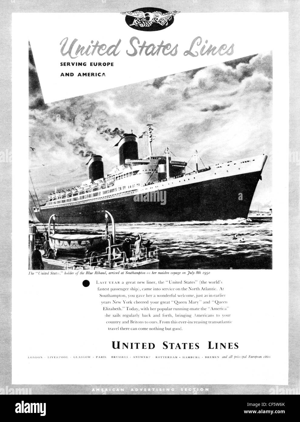 United States Lines cruise ship travel advert from 1953 Stock Photo
