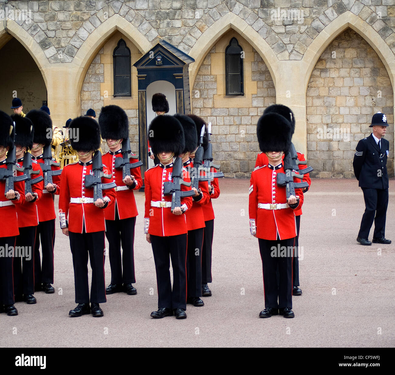 Guardsmen ready to march during the annual Garter Day ceremony at Windsor Castle. - Stock Image