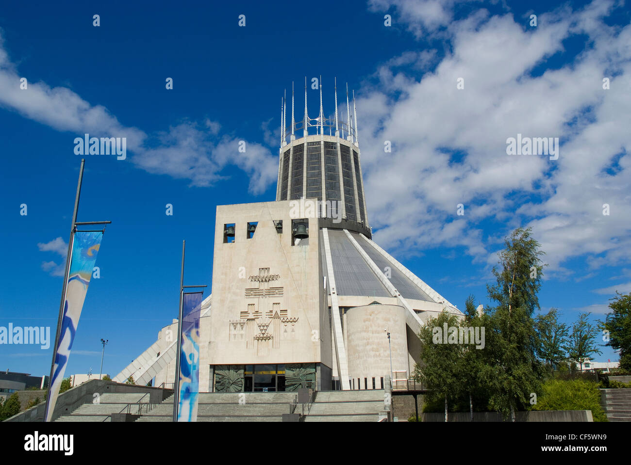 The exterior of Liverpool's Roman Catholic Metropolitan Cathedral dedicated to Christ the King. Stock Photo
