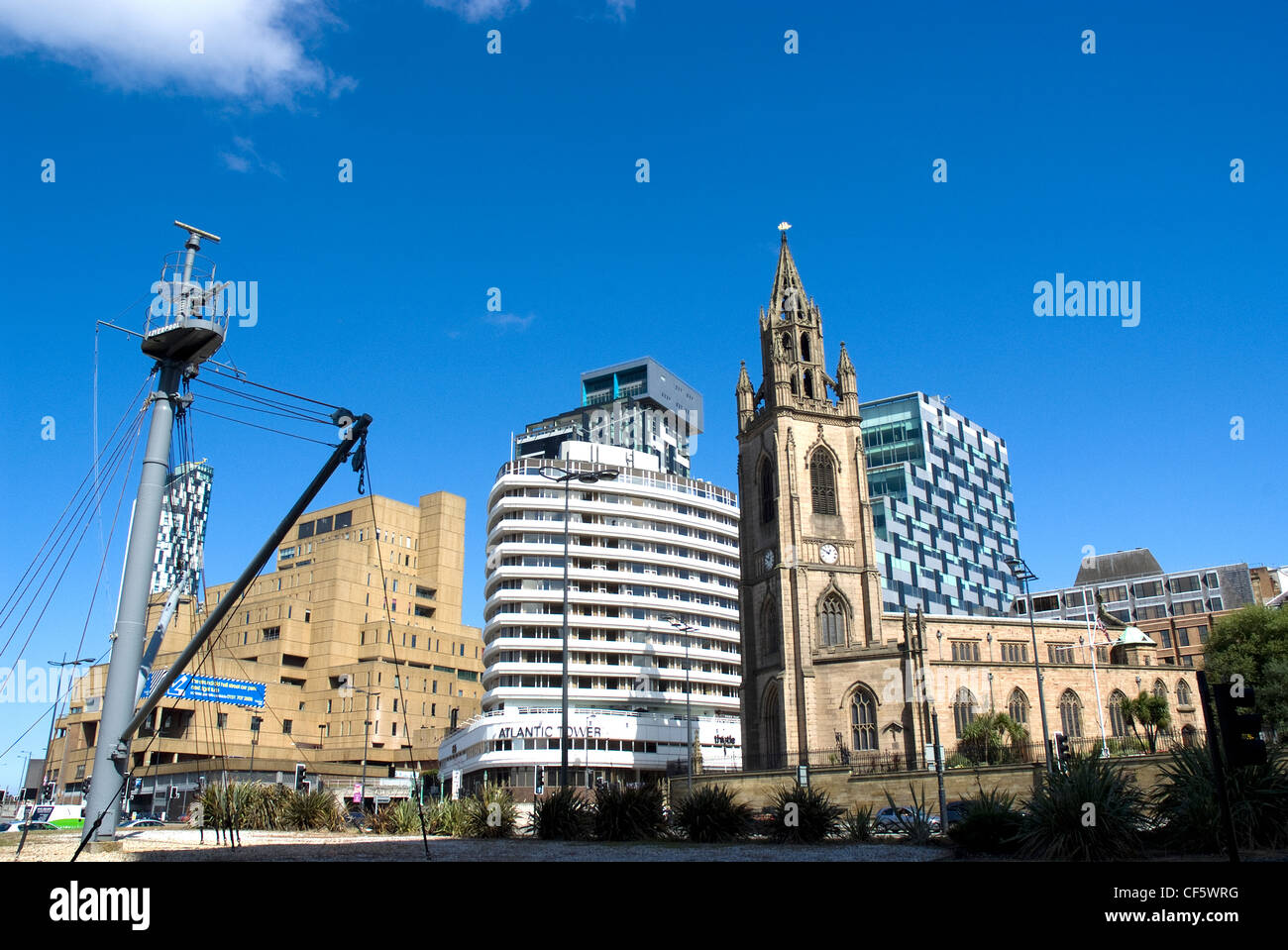 The Church of Our Lady and St Nicholas and The Atlantic Tower hotel on the quayside. Stock Photo