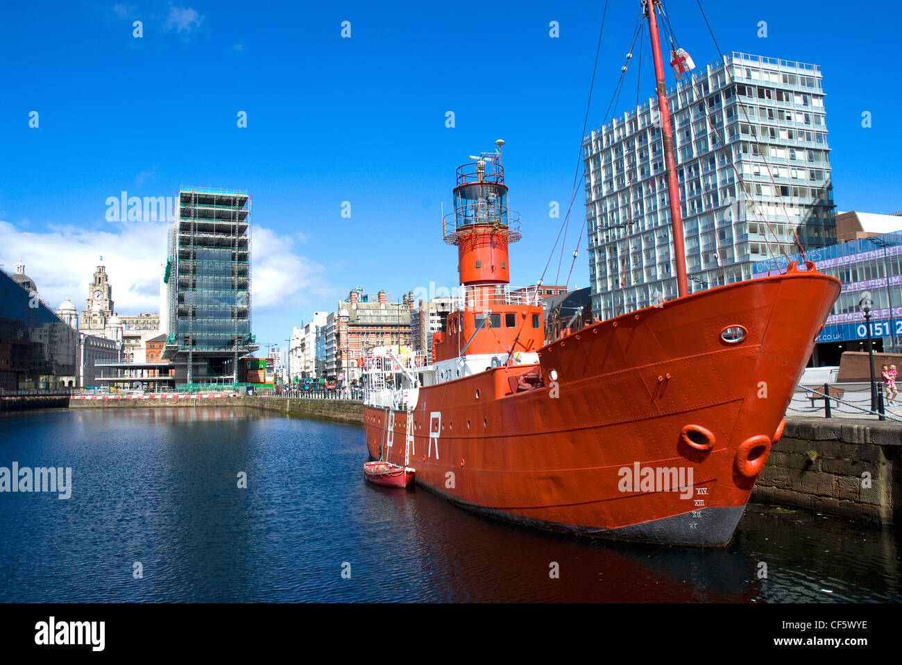 The former Mersey Bar Lightship 'Planet' in Canning Dock. - Stock Image
