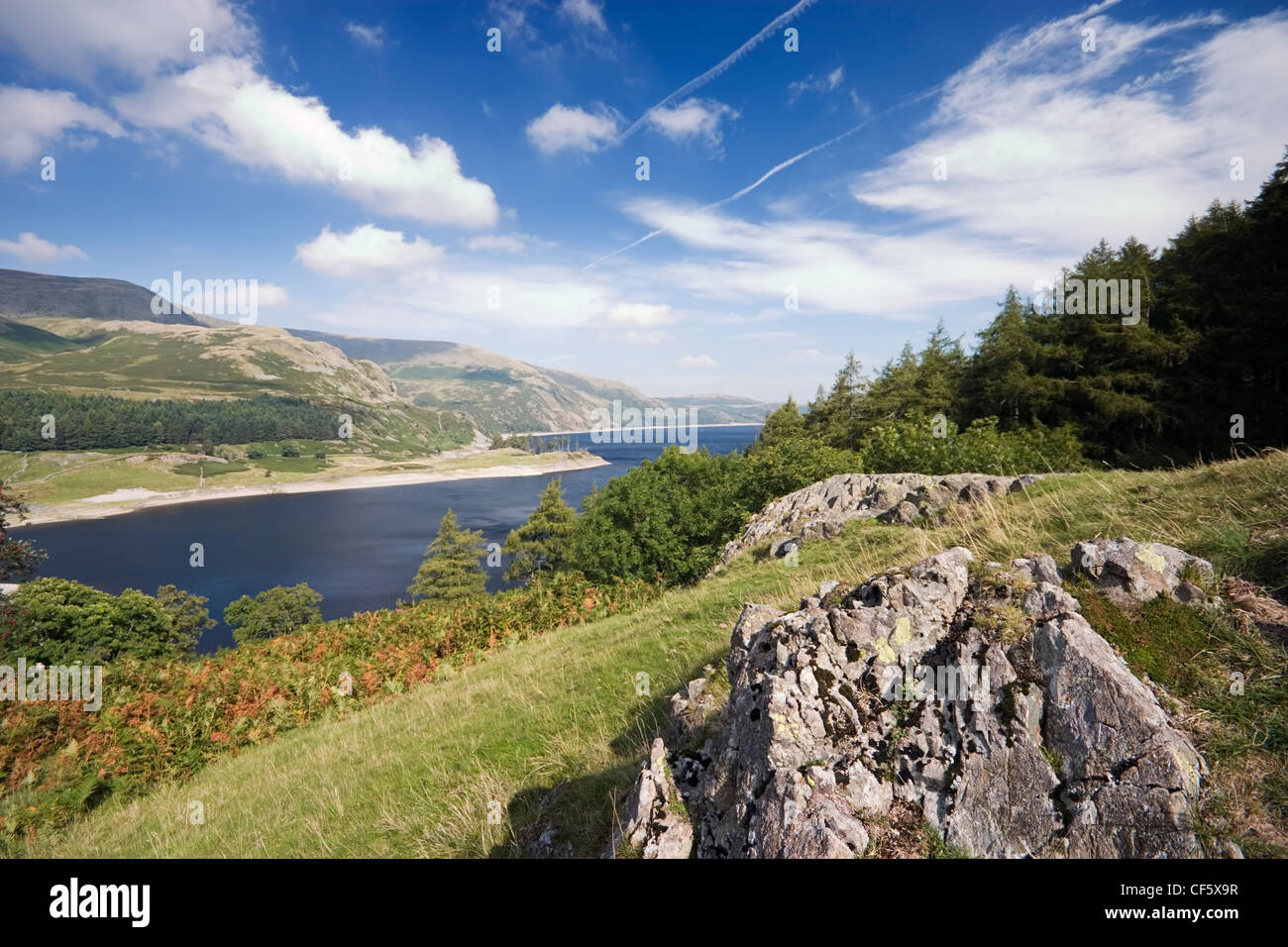 Idyllic rural view of Haweswater Lake from The Rigg. The controversial construction of the Haweswater dam was started - Stock Image