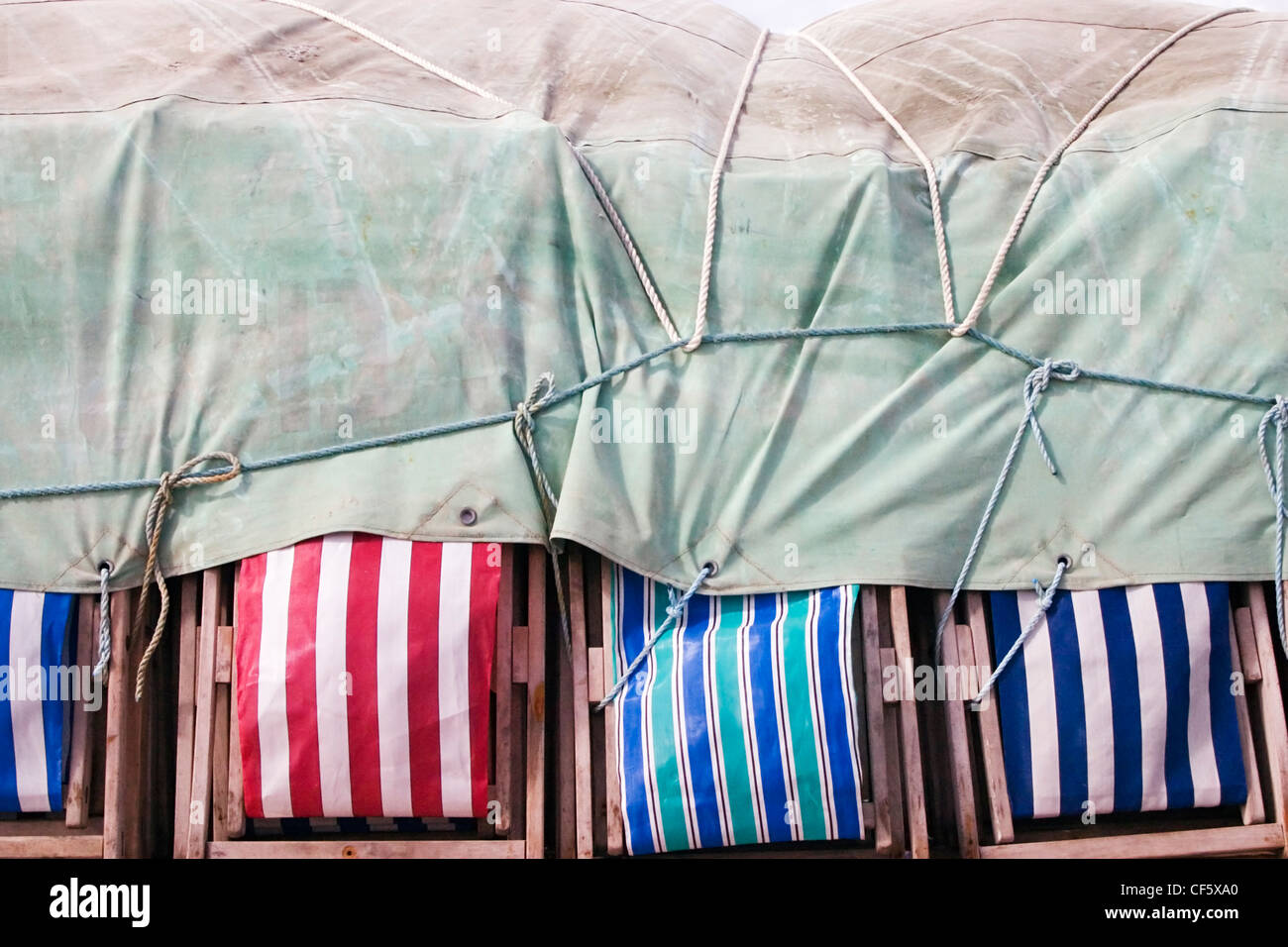 Blackpool deckchairs tied up. For centuries, Blackpool was a small hamlet by the sea and only grew into a substantial - Stock Image