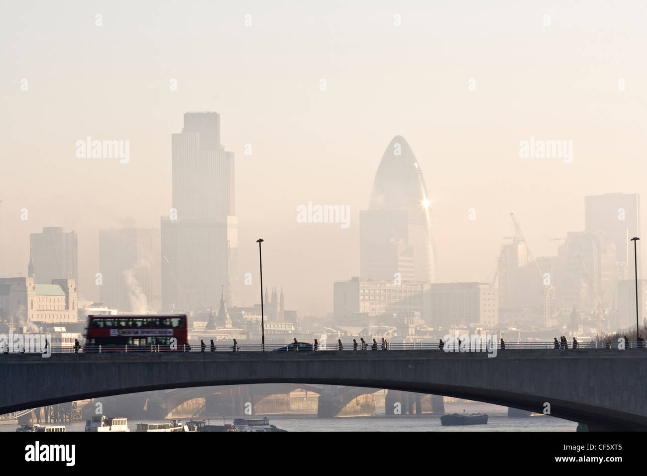 Rush hour on a misty morning. - Stock Image