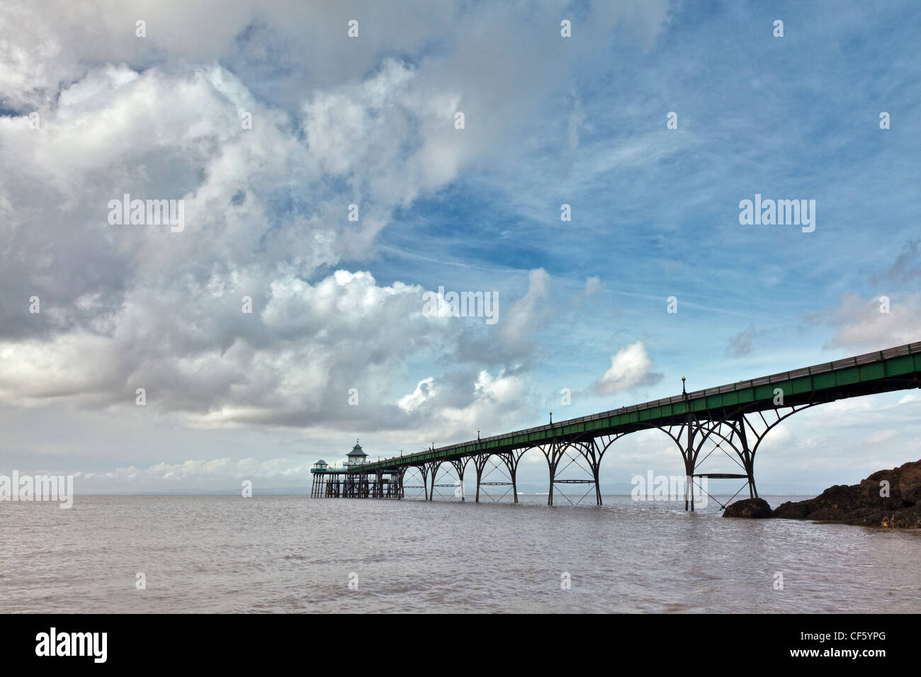 Clevedon Pier, the only fully intact, Grade 1 listed pier in the country, stretching out into the River Severn estuary. Stock Photo
