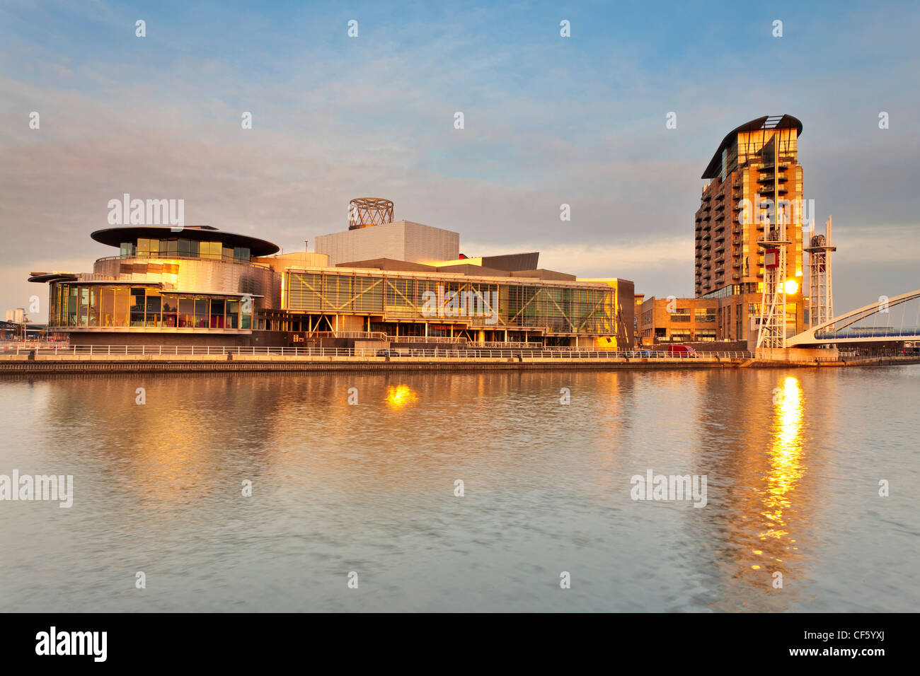 The Lowry at the heart of the redeveloped Salford Quays in Greater Manchester. The Lowry is a landmark building - Stock Image