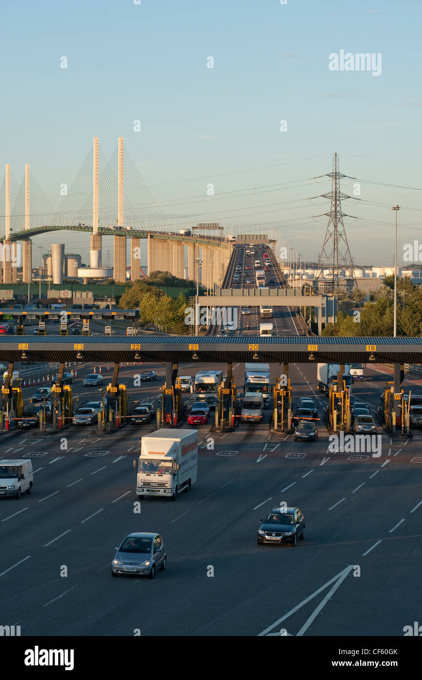 Traffic pulling away from the toll booths of the Dartford River crossing to enter Kent. Stock Photo