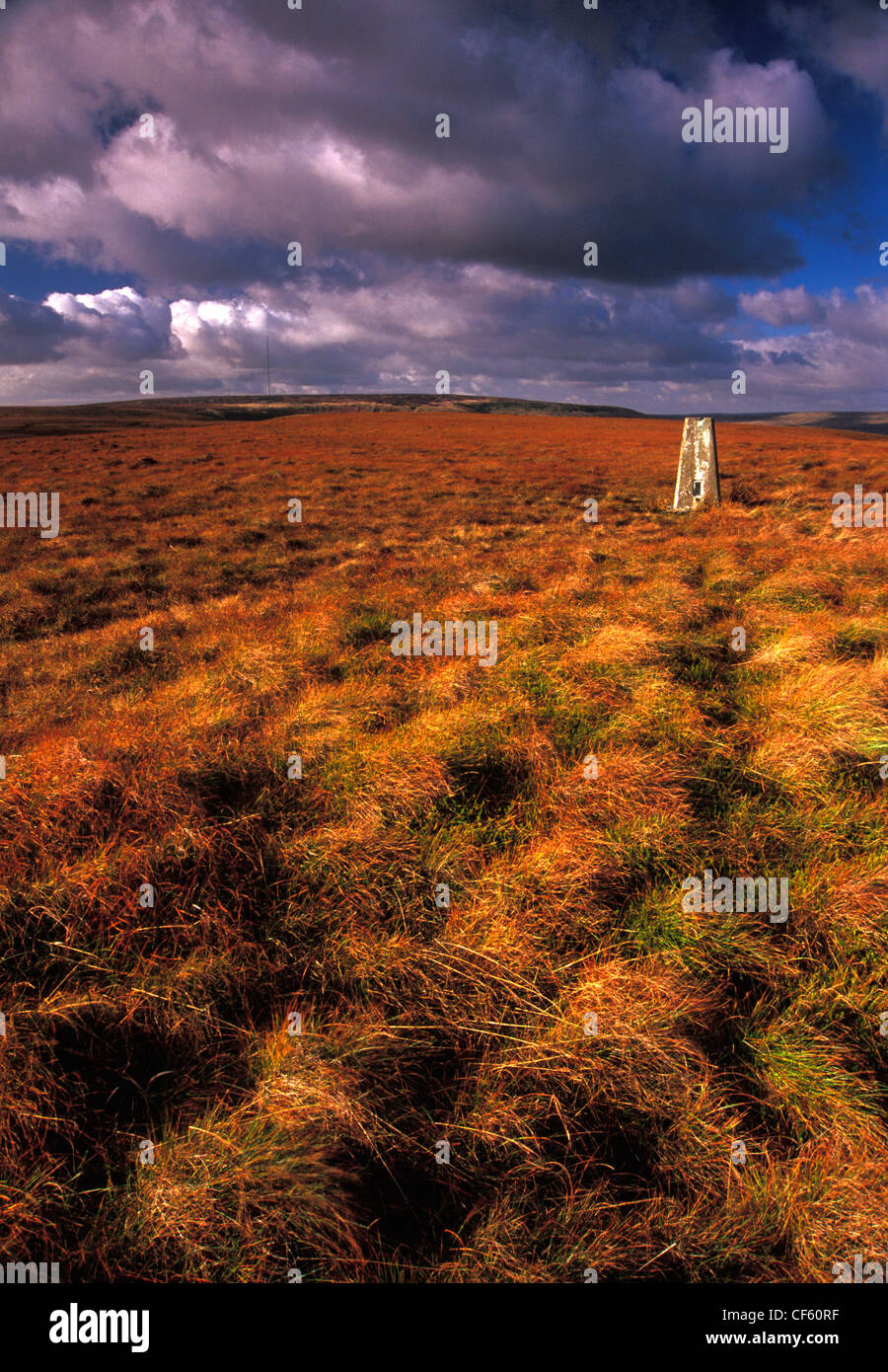 A view to a trig point on Snailsden Moss. Trig points were historically a tool to give surveyors a frame of reference - Stock Image
