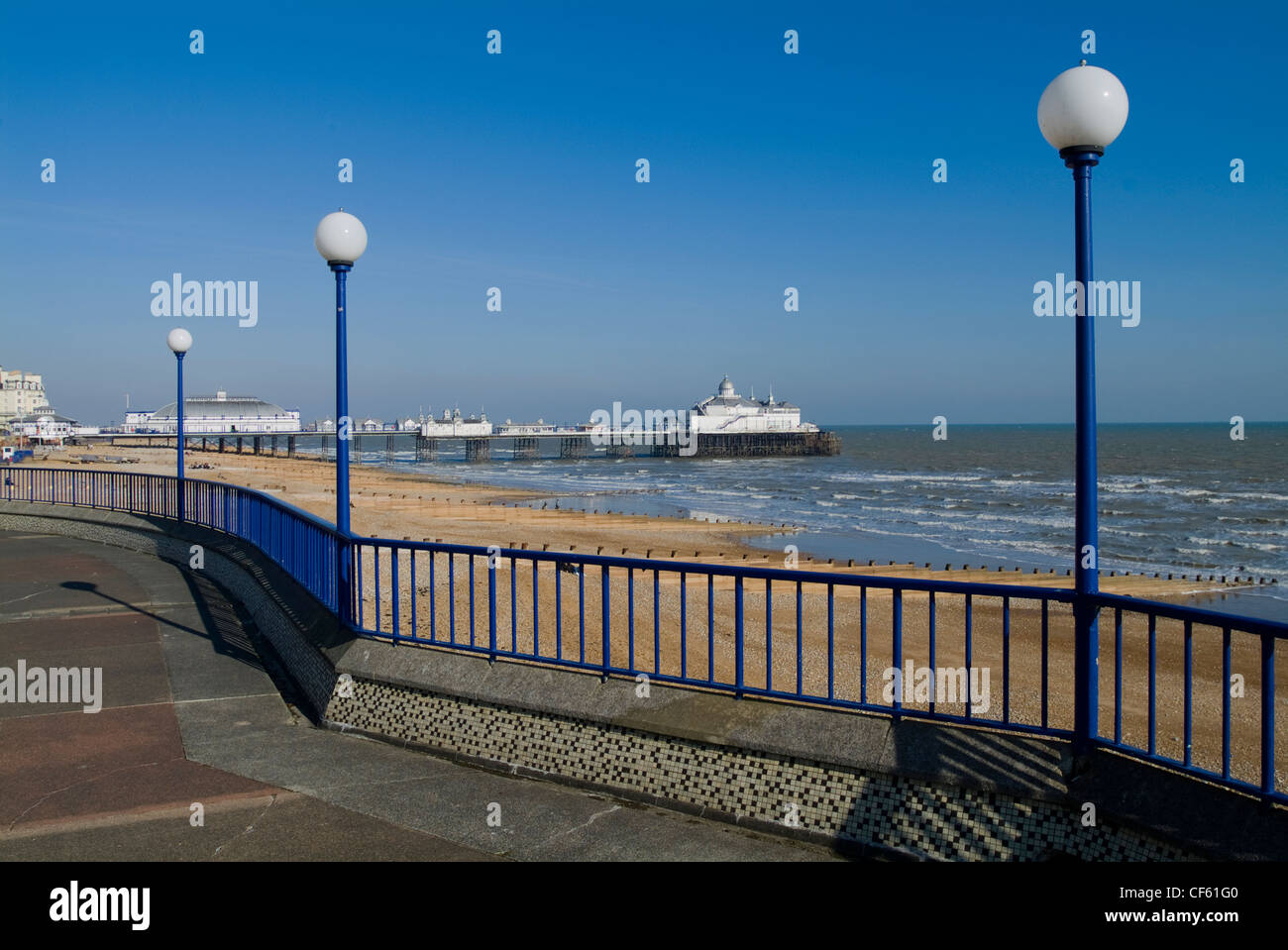 The view from the bandstand looking east to the pier at Eastbourne. Stock Photo