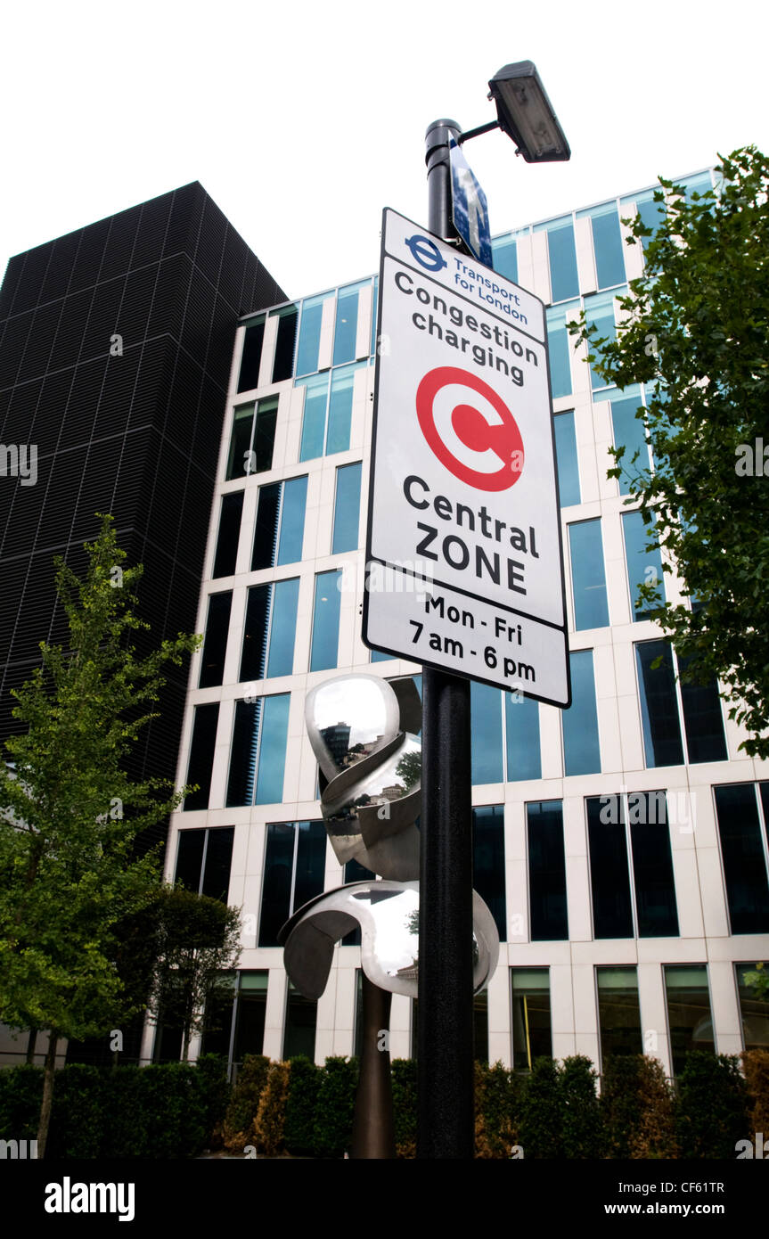 A congestion charge sign in West London. - Stock Image