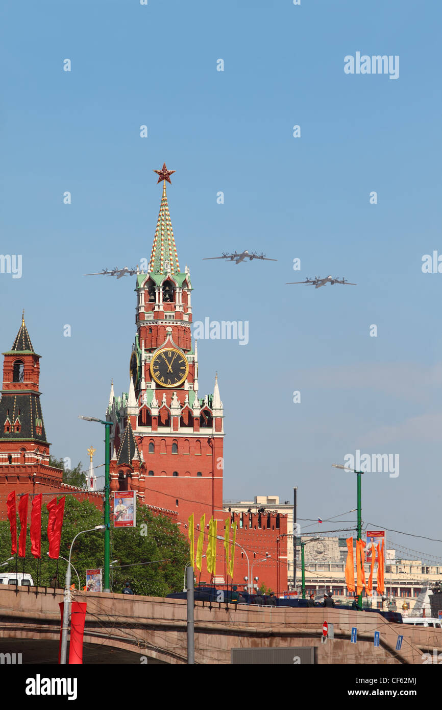 MOSCOW MAY 9 3 Tu-95ms large four-engine turboprop powered strategic bomber missile platform airplanes fly over - Stock Image