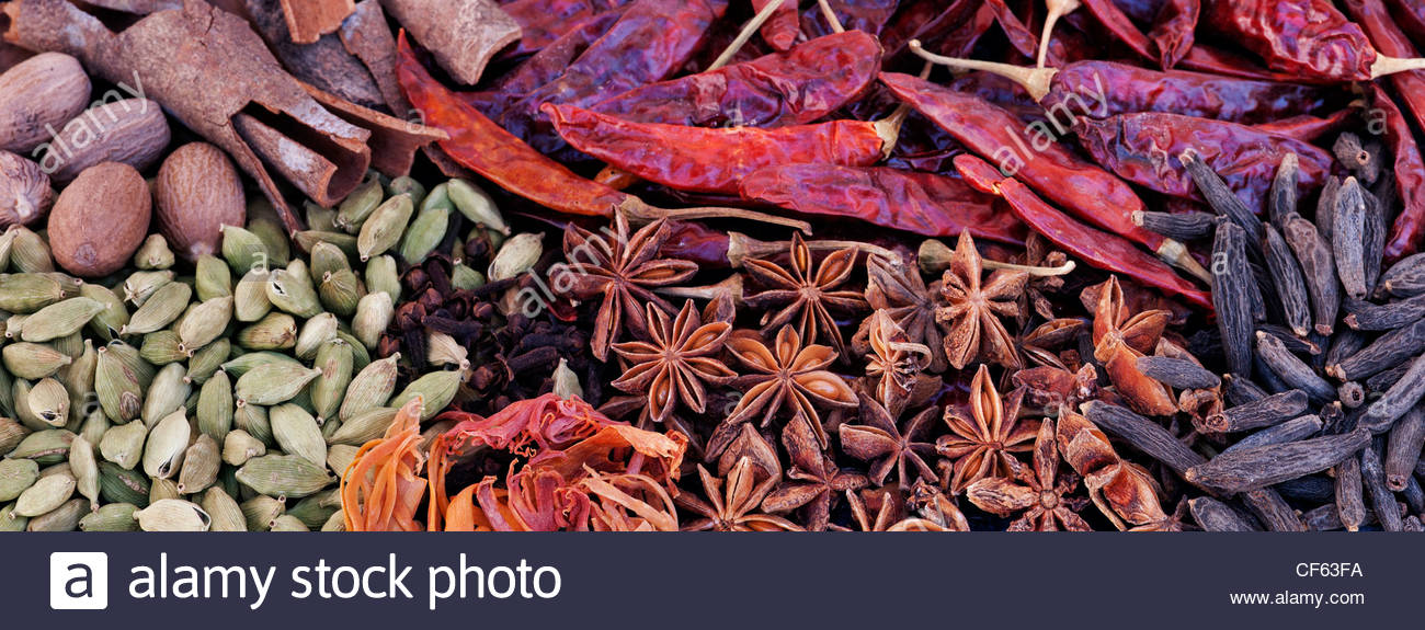 Indian cooking spices pattern. Flat lay photography from above. - Stock Image