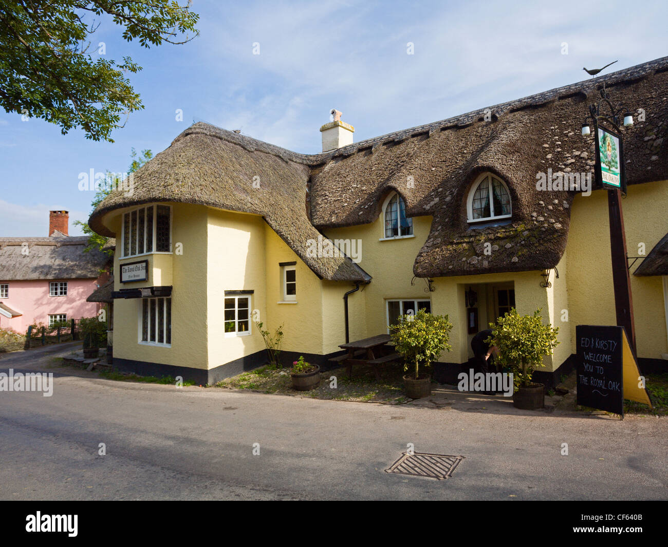 The Royal Oak Inn at Winsford in the heart of the Exmoor National Park. - Stock Image