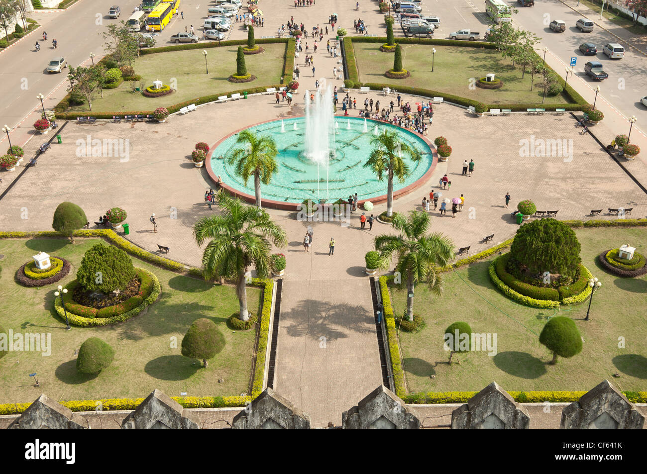 Fountain near the Victory Gate of Vientiane - Stock Image